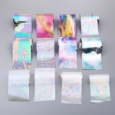 New 12Pcs/set 4*20cm Starry Sky Nail Foils Nail Art Transfer Stickers Decal Fashion Broken Glass DIY Nail Tips Decorations JU18.