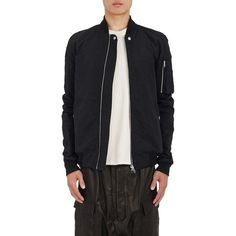 Rick Owens Men's Cotton-Blend Raglan Bomber Jacket (1,765,035 KRW) ❤ liked on Polyvore featuring men's fashion, men's clothing, men's outerwear, men's jackets, black, mens padded jacket, mens shawl collar jacket, mens zipper jacket, mens padded bomber jacket and mens leather sleeve jacket
