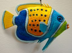 Colorful Fish, Tropical Fish, Clay Fish, Wooden Fish, Fish Crafts, Painted Rocks, Painted Tiles, Hand Painted, Stained Glass Patterns