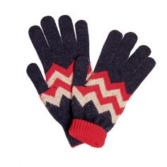 Zig Zag Lambswool Gloves - Gloves - Accessories - Drakes London