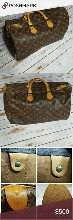 Louis Vuitton Speedy 40 Speedy 40. Authentic. Lightly used. Lost the key but lock is included. I'm sure you can find a key just match the number. The zipper needs to be fixed. I was able to put it back together but if you unzip it all the way it will come off track again, so just need to add the zipper stopper. One small pin hole Mark. No exposed piping. Great condition for vintage bag. Sorry no dust bag. Louis Vuitton Bags