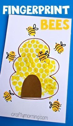 Bubble Wrap Beehive + Fingerprint Bee Craft - Crafty Morning For Kids Luftpolsterfolie Bienenstock + Daycare Crafts, Toddler Crafts, Preschool Crafts, Kids Crafts, Craft Kids, Preschool Kindergarten, Crafty Craft, Creative Crafts, Kindergarten Art Projects