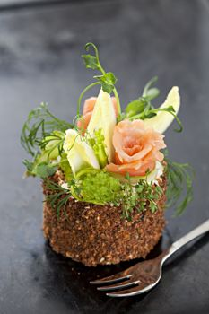 New Nordic Food - Swedish Savory layer cake for BAKA Magazine. Chef Sara Wicklin URBAN CHEF