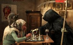 Checkmate - cat, scythe, medicine, death, funny, chess, joke, photomanipulation, situation, pills, old woman, checkmate, syringe, black