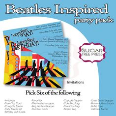 Beatles Themed Birthday Party Pack - Pick six. $18.00, via Etsy.