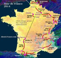 Tour de France route map for 2014 July 5th - 27th, 2014 ended in Paris