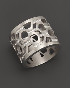 """India Hicks """"Hicks On Hicks"""" Diamond Band Ring In Sterling Silver 
