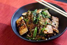 Yu Choy Cellophane Noodle Stir-Fry with Tofu & Peanuts - I didnt use blue apron for this, I happened to have stuff on hand. I used bulgogi style brisket instead of tofu and red peppers instead of the greens. really good! 5