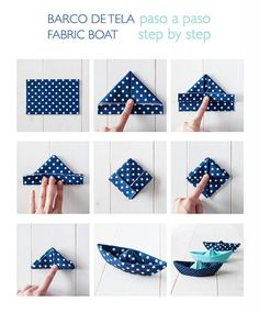 DIY Origami Easy Fabric Boat Ideen Tipps und Tutorial Origami - Origami - diy and crafts Diy Origami, Origami Boot, Fabric Origami, Origami Tutorial, Origami Paper, Origami Ideas, Simple Origami, Easy Oragami, Napkin Origami