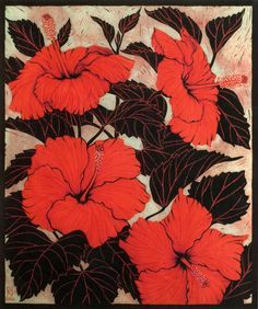 HIBISCUS 40 X 33.5 CM    EDITION OF 50 PIGMENT PRINT FROM A REDUCTION LINOCUT ON HANDMADE JAPANESE PAPER $850