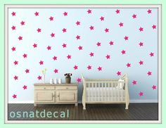 FREE SHIPPING Wall Decal PINK Stars, A Large Quantity 139. Wall Sticker .Homedecor.Nursery. Kids Room