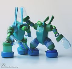 Awesome robots made with bottles and stuff. Genius.