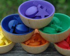 Montessori Inspired Sorting Bowls Wooden Rainbow Sensory Toy