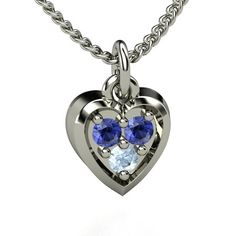 Round Aquamarine Sterling Silver Necklace with Sapphire   Anytime Heart Charm   Gemvara