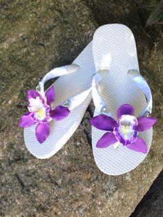 Bridal Flip Flops.Wedding Flip by RocktheFlops on Etsy