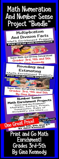 I have bundled three of my numeration and math sense enrichment products. I have included enrichment projects for multiplication and division facts, rounding and estimating numbers, prime/composite numbers, factors, multiples and more. The creative enrichment projects in this bundle provide an authentic opportunity to integrate math with creative writing and research. Print and Go Enrichment! $