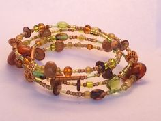 LOVE! Peridot and Brown memory wire bracelet