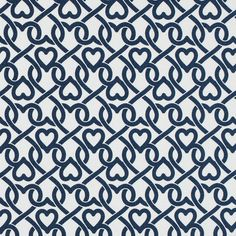 White/Navy Chain-linked Hearts Printed on a Stretch Cotton Poplin 114147 A landscape of linked hearts decorates the surface of this stretch combed cotton poplin bringing an air of flirtation along with it. Of a lighter weight, this fabric is suitable for