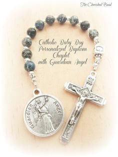 Catholic Baby Boy's Baptism Blue Gemstone Personalized Chaplet