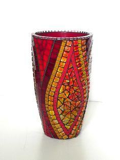 Mosaico arte grandes Vidrieras mosaico Jarrón en por NewArtsonline