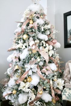 Rose and Gold Christmas Tree