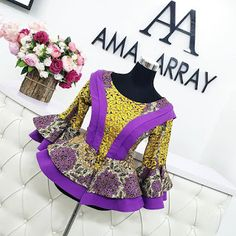 Ankara Tops Blouses, Ankara Peplum Tops, African Blouses, Ankara Skirt And Blouse, Ankara Dress, African Fashion Ankara, Latest African Fashion Dresses, African Print Fashion, African Dresses For Kids