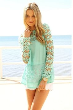 Vintage Inspired Mint Long Sleeve Crochet Tunic http://www.ustrendy.com/store/product/90464/vintage-inspired-mint-long-sleeve-crochet-tunic