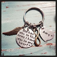 SALE Memorial Jewelry - Loss of Loved One Keychain - Mom Memorial - Dad Memorial - God Has You In His Arms, I Have You In My Heart