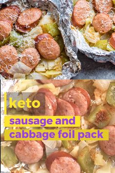 Camping Must Haves Discover Keto Sausage and Cabbage Foil Pack Keto Sausage and Cabbage Foil Packs are loaded with spicy sausage bell pepper onion and cabbage in a cajun butter sauce! A perfect low carb meal for camping or grilling out! Low Carb Recipes, Diet Recipes, Cooking Recipes, Healthy Recipes, Cheap Recipes, Crockpot Recipes, Salad Recipes, Healthy Food, Lunches