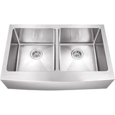 Schon All-in-One Farmhouse Apron Front Stainless steel 33 in. Double Bowl Kitchen Sink-SCAP505016 - The Home Depot