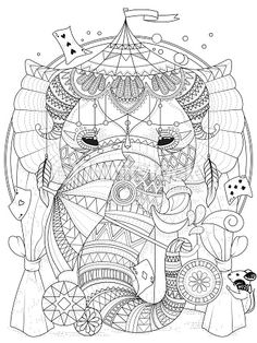 Vector Art Elephant Adult Coloring Page