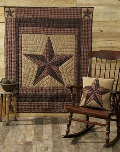 Warm up on those chilly  nights with our Landon Quilted Throw – Primitive Star Quilt Shop! Or you can take it a step further and use it as a decorative wall hanging. The 5 point star in khaki, red, brown, and black will be lovely with your primitive decor. This throw also coordinates with our Landon bedding. https://www.primitivestarquiltshop.com/collections/landon-bedding/products/landon-quilted-throw