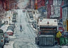 - Watercolor painting by Deb Watson - trash day - Reading Pennsylvania, Trash Day, Local Color, World Water, Painted Books, Watercolor Paintings, Watercolours, Painting & Drawing, Around The Worlds
