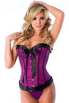 Purple Taffeta Corset W/ Pleated Trim & Thong 1048 Velvet Kitten  Purple taffeta corset with pleated trim, front busk closure, lace-up back, boning, satin bow detail and thong.