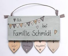 ** NEW DESIGN ** ** Shabby door sign wood (spruce 19 mm) with .- **♥NEUEs DESIGN ♥** **Shabby Türschild Holz (Fichte 19 mm) mit Namensanhän… ** ♥ NEW DESIGN ♥ ** ** Shabby door sign wood (spruce 19 mm) with name tags in heart shape and your surname and Wooden Door Design, Wooden Doors, Wooden Signs, Shabby, Personalized Wedding Gifts, Door Signs, Diy And Crafts, Hand Painted, Etsy