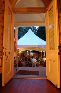 One of our tents seen through the front door onto the front lawn at Ashford Manor Bed & Breakfast.