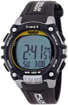 Timex Men's Ironman Traditional Black/Silver-Tone/Yellow Resin Strap Watch - Timex Men's Ironman Traditional Black/Silver-Tone/Yellow Resin Strap Watch Indiglo® Chronograph with Lap and Split Time Amazing Watches, Beautiful Watches, Cool Watches, Watches For Men, Wrist Watches, Casual Watches, Brand Name Watches, Sport Watches, Citizen Watches