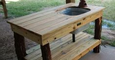 DIY  outdoor sink powered by a water hose - we could use a rain barrel for a water source near the gardens | Garden/Outdoor | Pinterest | Outdoor Sinks, Water …