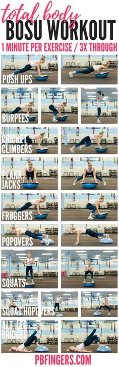 A total body BOSU workout that targets the upper body, core and lower body with exercises including push ups, squats, cricket climbers and more.