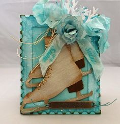 Tracy Evans: Winter Skates using Tim Holtz, Ranger and Sizzix products; Sept 2014