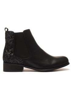 Chelsea boots noirs à paillètes pas cher                              …