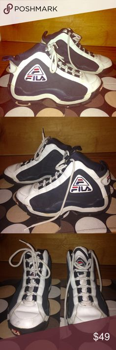 """FILA White Drk Blue Leather HI-TOPS EUC FILA White Dark Blue Leather Lace-Up HI-TOPS EUC Women's Sz 9.5  •DETAILS: *Adjustable Velcro Strap on Back for Comfort & Fit! *Insole Length- 10""""; Outsole Width- 4"""" **SMOKE-FREE AND PET-FREE HOME!** Fila Shoes Sneakers"""