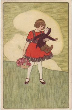 Girl with cat, vintage postcard