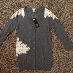 """NWT Live in California Moon Collection Cardigan Gorgeous!  """"Patches"""" with crochet accents. 3/4. Very light. Perfect for spring! Purchased from a boutique. Live in California Sweaters Cardigans"""