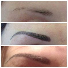 Eyebrow Embroidery by Elizabeth Oakes director of The European Institute of Permanent make up training. BEFORE AND AFTER 1 MONTH HEALING: TOP UP PICTURE.