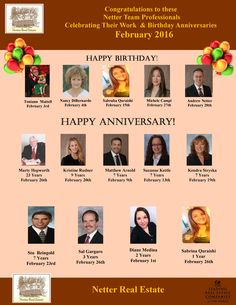 Congratulations to these Netter Real Estate Professionals celebrating February birthdays & anniversaries