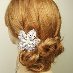 Large Rhinestone Flower Wedding Hair Comb Ivory by luxedeluxe