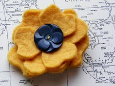 """3"""" wool felt flower with vintage button, etsy, $8"""
