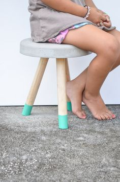 Industrial Modern Concrete stool. Wood legs.  door triple7recycled, $30.00