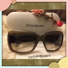 Authentic YSL Rectangle Sunglasses  Features plastic frame plastic lens polarized Lens width: 55 mm Bridge: 17 mm Arm: 135 mm Manufactured:Italy Frame:Yes Nose Pads:Stationary Features:Snakeskin pattern adorning length of arms. Light Gold-Tone logos at temples. Very Beautiful and Fabtrade low balling thank you so much Yves Saint Laurent Accessories Sunglasses